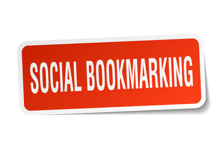 bookmarking: social bookmarking square sticker on white