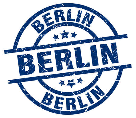 Berlin blue round grunge stamp
