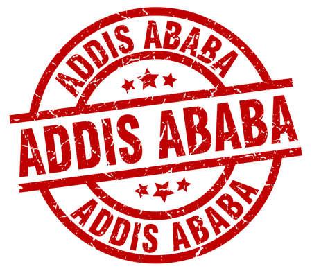 Addis Ababa red round grunge stamp