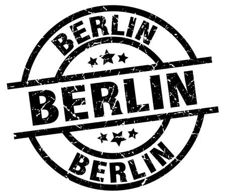 Berlin black round grunge stamp