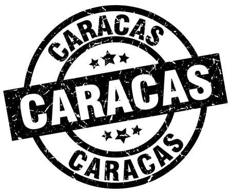 caracas: Caracas black round grunge stamp Illustration