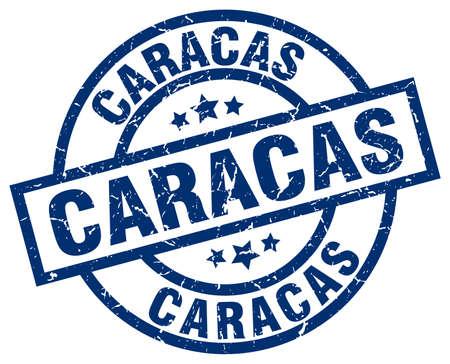 caracas: Caracas blue round grunge stamp