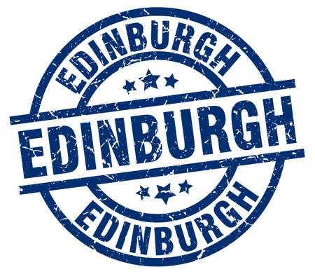 Edinburgh blue round grunge stamp