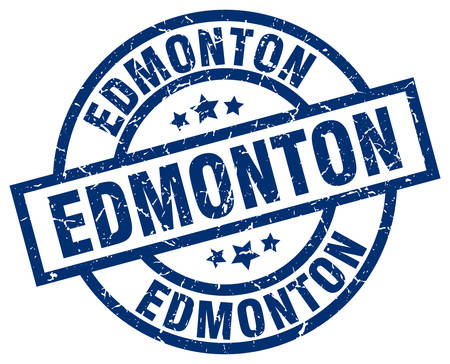 edmonton: Edmonton blue round grunge stamp Illustration