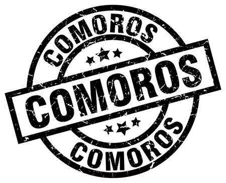 Comoros black round grunge stamp