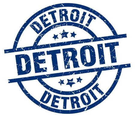 detroit: Detroit blue round grunge stamp