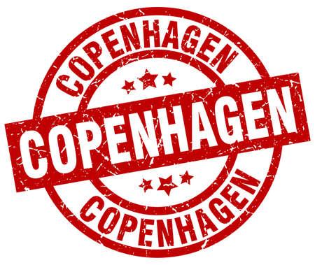 Timbre grunge rouge rond de Copenhague