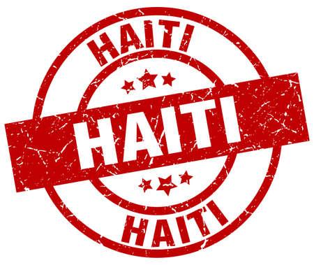 Haiti red round grunge stamp Illustration