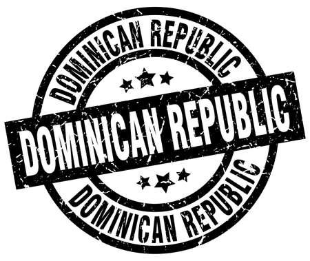 도미니카 공화국 검은 라운드 grunge 스탬프 일러스트