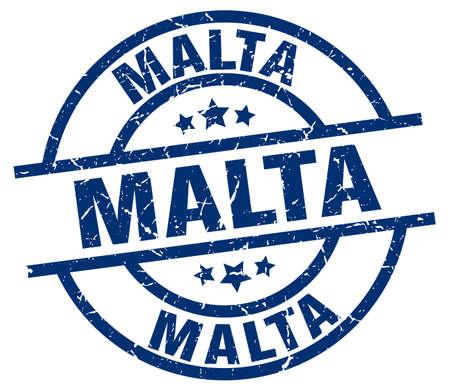 malta: Malta blue round grunge stamp Illustration