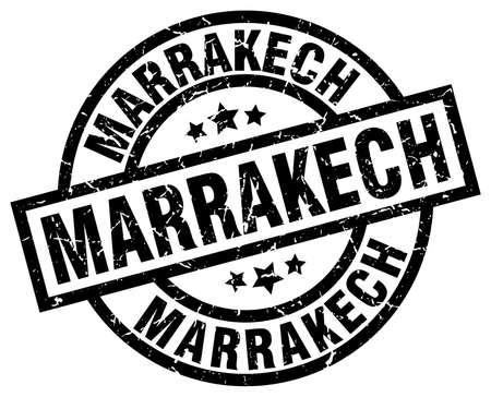 Marrakech black round grunge stamp Illustration