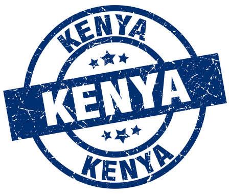 kenya: Kenya blue round grunge stamp