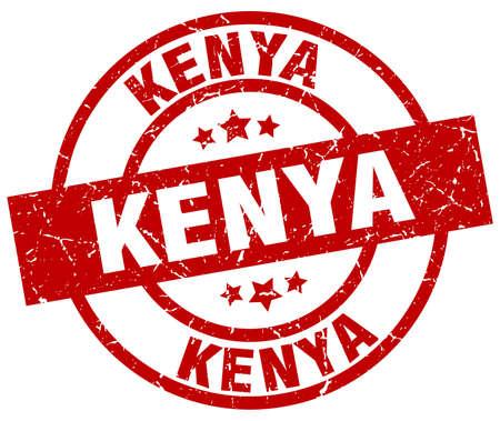 kenya: Kenya red round grunge stamp