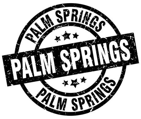 Palm Springs black round grunge stamp Illustration
