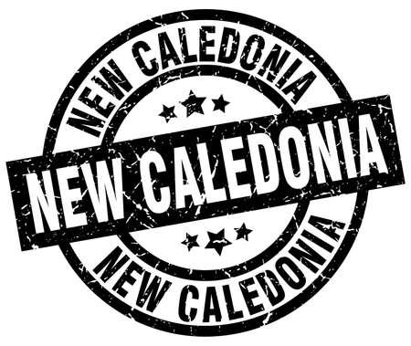 New Caledonia black round grunge stamp
