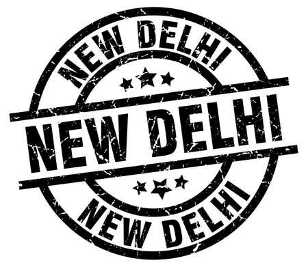 New Delhi black round grunge stamp