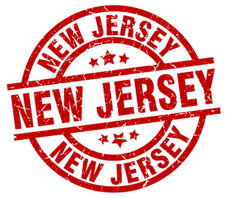 jersey: New Jersey red round grunge stamp