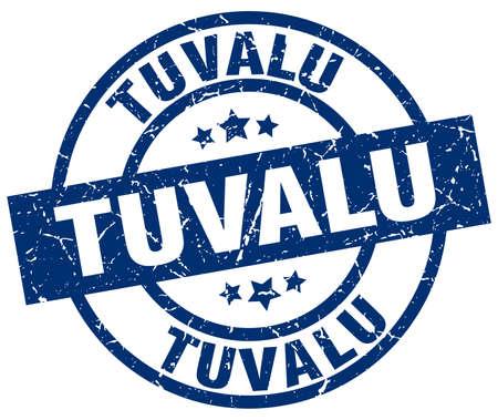 Tuvalu blue round grunge stamp