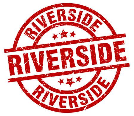 Riverside red round grunge stamp