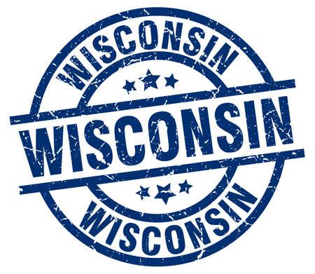 Wisconsin blue round grunge stamp Illustration