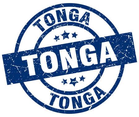 tonga: Tonga blue round grunge stamp