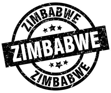 Zimbabwe black round grunge stamp Illustration