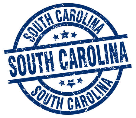 South Carolina blue round grunge stamp Illustration