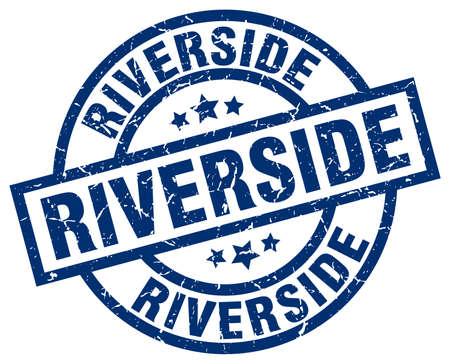 Riverside blue round grunge stamp