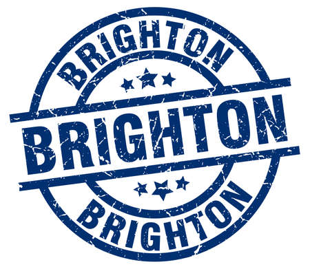 brighton: Brighton blue round grunge stamp Illustration