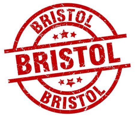 Bristol red round grunge stamp Illustration