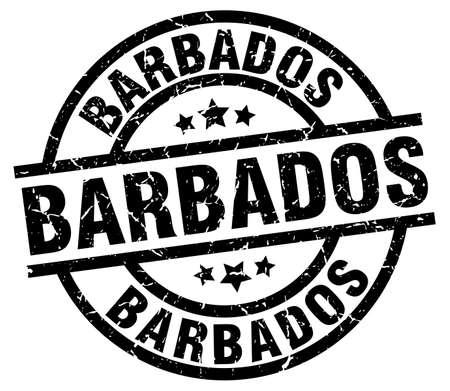 Barbados black round grunge stamp Illustration