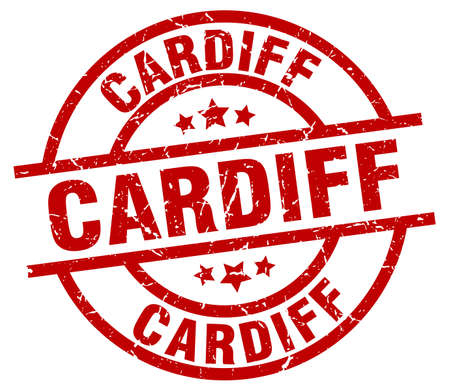 cardiff: Cardiff red round grunge stamp Illustration