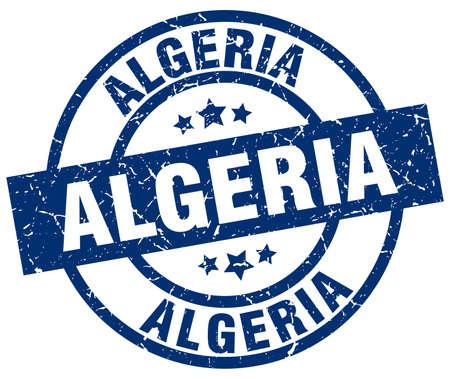 algeria: Algeria blue round grunge stamp