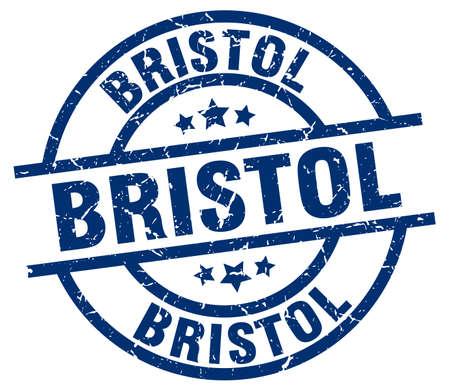 bristol: Bristol blue round grunge stamp Illustration