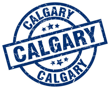 calgary: Calgary blue round grunge stamp Illustration