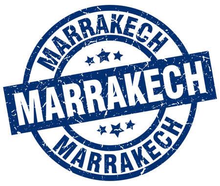 Marrakech blue round grunge stamp
