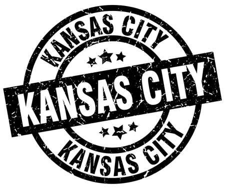 kansas: Kansas City black round grunge stamp