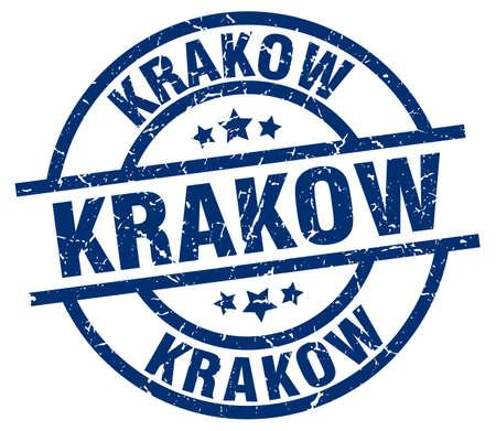 Krakow blue round grunge stamp