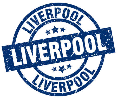 liverpool: Liverpool blue round grunge stamp Illustration