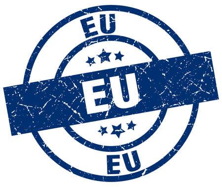 eu blue round grunge stamp Illustration
