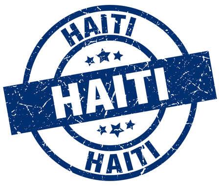 Haiti blue round grunge stamp