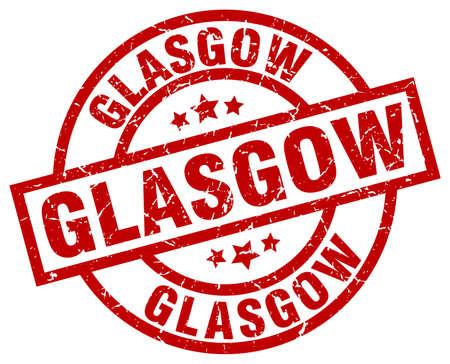 Glasgow red round grunge stamp Illustration