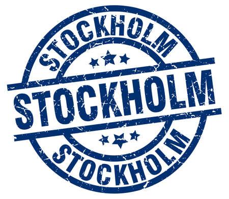 Stockholm blue round grunge stamp Stock Vector - 79711056