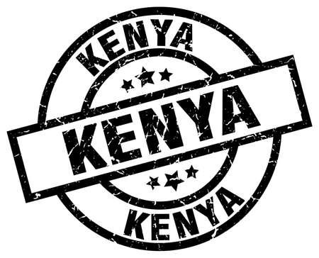 kenya: Kenya black round grunge stamp