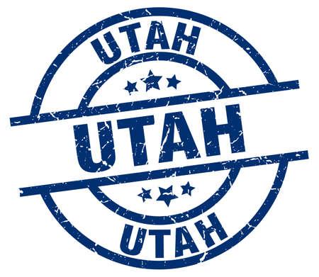 Utah blue round grunge stamp