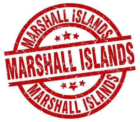Marshall Islands red round grunge stamp Illustration