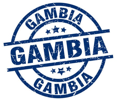 gambia: Gambia blue round grunge stamp Illustration