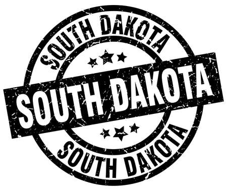 South Dakota black round grunge stamp