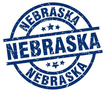 Nebraska blue round grunge stamp Illustration