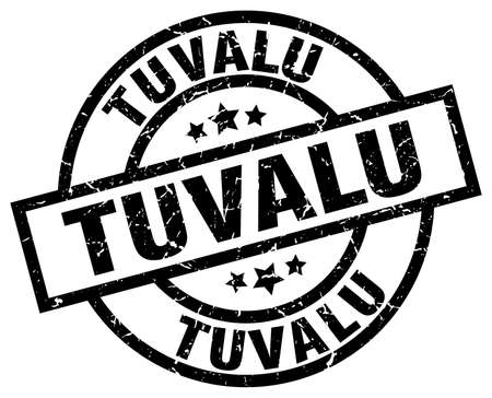 Tuvalu black round grunge stamp Illustration